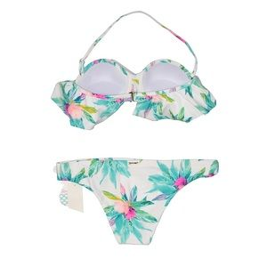 Raisins Swim - NWT Raisins White Floral Bandeau Bikini